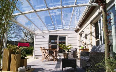 AC Systems glas helder strak transparante terrasoverkapping