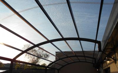 AC Systems glas helder terras licht gebogen overkapping